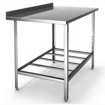 Стол производственный из нержавеющей  стали(с полкой решеткой и бортом)